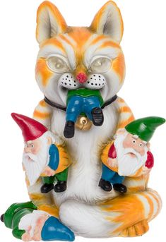 Solar Powered Outdoor Cat Massacre Gnome - Novelty Light Up Funny Garden Statue Orange,,Christmas Day Products,Gifts Products Outdoor Garden Decor, Outdoor Cats, Outdoor Statues, Garden Statues, Novelty Lighting, Angry Cat, Gnome Garden, Cat Gifts, Cool Cats