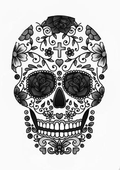 9. #Outline - 29 Downright Awesome #Sugar Skulls You're #Going to Love ... → #Lifestyle #Awesome