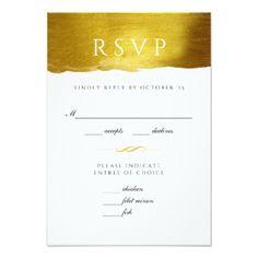 Gold Monogram Glam and Elegant Wedding RSVP card - monogram gifts unique design style monogrammed diy cyo customize