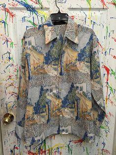Mens vintage polyester pimp nylon disco button down long sleeve shirt size Medium 15 blues greens rust yellow white cafe motif 70's RagsAGoGo