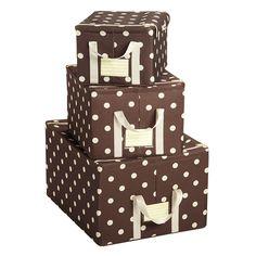 Mocha Dots Fabric Storage Boxes