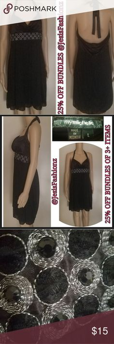 My Michelle Sexy Black Dress w/Decorative Waist Size Large beautiful black silky dress with silver thread decorative stitch & black faceted cobochon waistline embellishment. Tie top. Truly sexy & stylish this dress is sure to catch some eyes! 25% OFF BUNDLES OF 3 OR MORE ITEMS! **ALL REASONABLE OFFERS ACCEPTED** ALL CLOTHING IS NWT OR GENTLY USED & HAS BEEN CHECKED FOR DAMAGE. IF ANY ITEM IS DAMAGED, IT WILL BE SHOWN AND NOTED. BUY WITH CONFIDENCE~TOP 10% SELLER, FAST SHIPPING, 5 STAR…