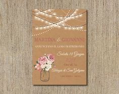 Set partecipazioni di nozze inviti matrimonio pocket craft rustic shabby chic, vintage wedding pocket set invitation kraft di FlowersFavours su Etsy