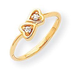 14k Yellow Gold Polished Diamond Heart Ring