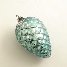 Vintage Glass Christmas Ornament Aqua Pinecone - I have a set of 12 in their original box