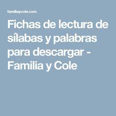Fichas de lectura de sílabas y palabras para descargar - Familia y Cole