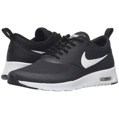 Nike Air Max Thea (Black/Summit White) Women's Shoes ($95) ❤ liked on Polyvore featuring shoes, athletic shoes, nike footwear, nike shoes, kohl shoes, grip shoes and breathable shoes