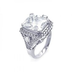Square Cubic Zirconia Ladies Sterling Silver Ring * Details can be found by clicking on the image.