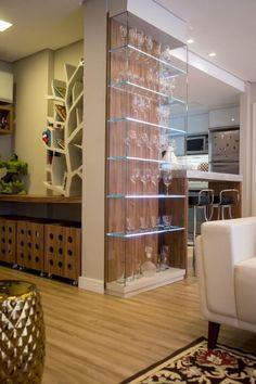 trendy home sala cristaleira Home Room Design, Dining Room Design, Home Interior Design, House Design, Living Room Partition Design, Room Partition Designs, Home Bar Designs, Café Bar, Interior Stairs