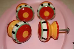 images of hand painted knobs and pulls | Whimsical Hand Painted Ceramic Knobs / Drawer Pulls / Orange, Yellow ...