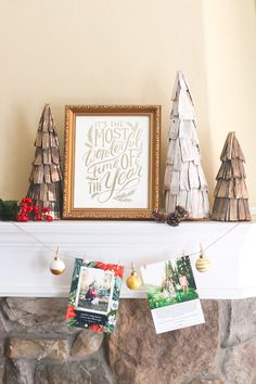 Holiday Card Mantel