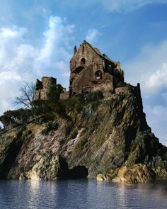 Ruined castle house on island Castle Ruins, Castle House, Derelict Buildings, 3d Studio, Land Of Enchantment, Fantasy Inspiration, The Visitors, Abandoned Places, Beautiful Places