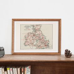 VINTAGE GREAT BRITAIN Map - Historical Map of Great Britain, Office Wall Art, Professional Reproduction, U.K. Map, Cooks Travel Map