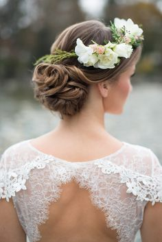 delicate lace open back detail & the floral hair piece! Wren wedding dress from Decoupage Collection by Claire Pettibone