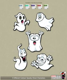 5 Spooky Ghost Characters by DevilNinjaDesigns Here are 5 fun Cartoon Ghost characters. They can be used for many different things like your website, blog or adding a great the