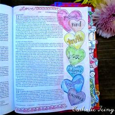 Catholic Bible Journaling- Ideas and Inspiration bible journaling- love is patient love is kind 1 cor 13 Get more photo… , Bible Journaling For Beginners, Bible Study Journal, Scripture Study, Bible Art, Art Journaling, Bible Verses, Scripture Journal, Scriptures, Bible Notes