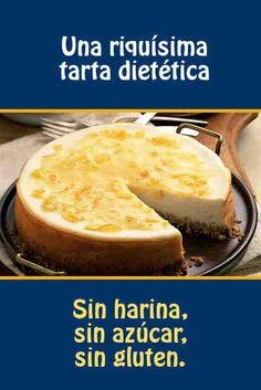Una riquísima tarta dietética. Sin horsno, sin harina, sin azúcar, sin gluten.