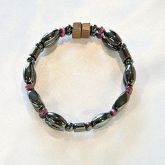 Black and Purple Beaded Bracelet by happyhealthy
