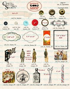 Ephemera Preview 2 for Barber Shop Digital Kit from Crafty Secrets which includes over 40 pieces of ephemera and 15 designers papers in high resolution 300 dpi/ppi