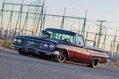 "Meet ""Smooth Jazz,"" An 1960 Chevrolet El Camino Custom Truck - MotorTrend Performance Wheels, Street Performance, Chevrolet Sedan, Chevy, Custom Trucks, Custom Cars, Black Cherry Paint, Shop Truck, Custom Muscle Cars"
