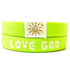 Love God Love Others - Neon Green Wrist Bands: Stretch to fit soft and comfortable on your wrist! www.brightbands.com