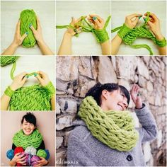 Knitted Scarf (No Knitting Needles Required), video tutorial here: https://www.youtube.com/watch?v=eClB0RpGBlo