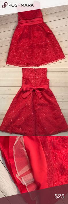 Girls sequin party dress ✨💕 Pretty sparkly dress for your little lady. Has rose swirls and sequins with a satin bow. No stains or rips, great condition.  It's kind of a coral pink not red. Top two photos are best representation of color. Dresses Formal