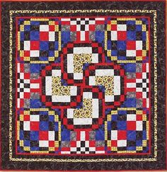 """Deck of Pansies, 53"""" x 53"""", designed and pieced by Maggie Ball, machine quilted by Wanda Rains."""