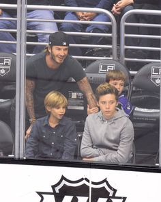 Beckhams at the LA Kings Hockey Game 2013