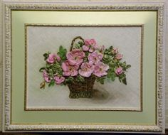 Pink wild roses in a basket ribbon embroidery