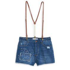MANGO High-Waist Denim Shorts ($50) ❤ liked on Polyvore featuring shorts, ripped denim shorts, high rise shorts, frayed denim shorts, distressed jean shorts and denim shorts