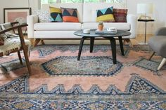 Kirsten Groves updated living room with Medallion Rug