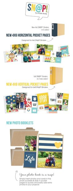 New Simple Stories Photo Booklets  Love these. Could attach to a scrapbook page to add extra pictures and can embellish the covers and add snap pages inside! -C