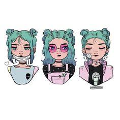 midnight doodles of spacegirl + spacebuns ! ☄️✨ • • • #illustration #spacegirls #oc #hairstyles #pastel