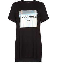 Black Metallic Good Vibes Only Print T-Shirt    New Look