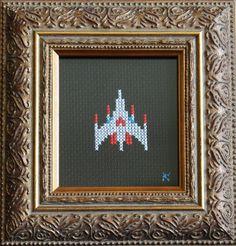 Now that is high art!!! HA!  Galaga Cross Stitch #gaming #galaga