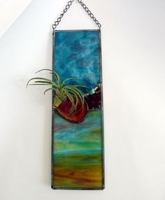 Stained Glass Air plant Panel Deep Turquoise with by miloglass, $40.00