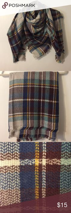 "Plaid Blanket Scarf NWOT This is a NIP (no tags included) plaid blanket scarf. Measures 56""x56"". Super cozy and soft. Colors include: mustard, greige, navy, wine, and turquoise. Accessories Scarves & Wraps"