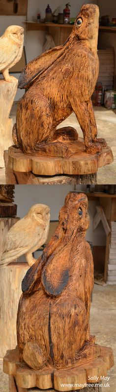 Moon gazing Hare chainsaw carving by Sally May