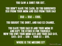 This is a new take on the old riddle... Funny when people don't logically think things through