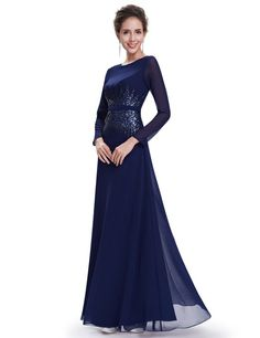 Ever Pretty Women's Sequins Elegant Round Neck Long Sleeve Evening Dress 08635: Amazon.co.uk: Clothing