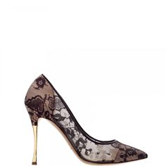Black lace pointed toe pumps with gold chrome stiletto heel. Nicholas Kirkwood.