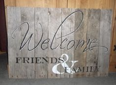 Rustic Welcome sign made from pallet wood. Measures 30 inches wide by 20 inches tall. Very heavy. I refund over paid shipping. Wood Pallet Signs, Pallet Art, Wood Pallets, Wooden Signs, Pallet Ideas, Cute Signs, Diy Signs, Pallet Crafts, Wooden Crafts