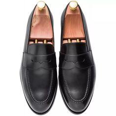 Skolyx Black Penny Loafer. Rock The Casbah, Crockett And Jones, Plastic Heels, Rubber Material, Raw Denim, Men's Wardrobe, Goodyear Welt, Penny Loafers, Black Leather
