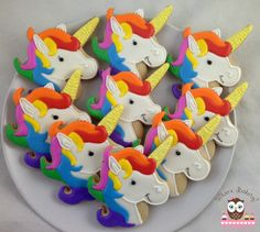 Unicorn cookies, rainbow cookies, rainbow bright cookies