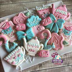 Sugar Coma Cookies:  Birthday.  Tea for two!  Tea set.