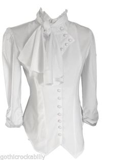 White-Gothic-Victorian-Steampunk-Ruffle-Vamp-Renaissance-Pirate-Blouse-Top Blouse Design by Amber Middaugh