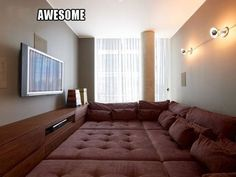 Great idea for some of those useless/awkward spaces in a house. Sleepover room, the whole floor is a bed.