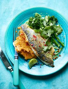 Pan-fried lime and ginger sea bass - Sainsbury's Magazine (healthy fish recipes sea bass) Fish Recipes, Seafood Recipes, Cooking Recipes, Fried Sea Bass Recipe, Healthy Recipe Videos, Healthy Recipes, Healthy Food, Healthy Meals, Healthy Life