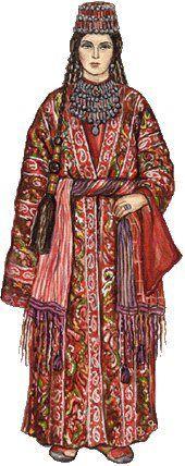 Armenian woman in national costume from region Shatakh, Armenia